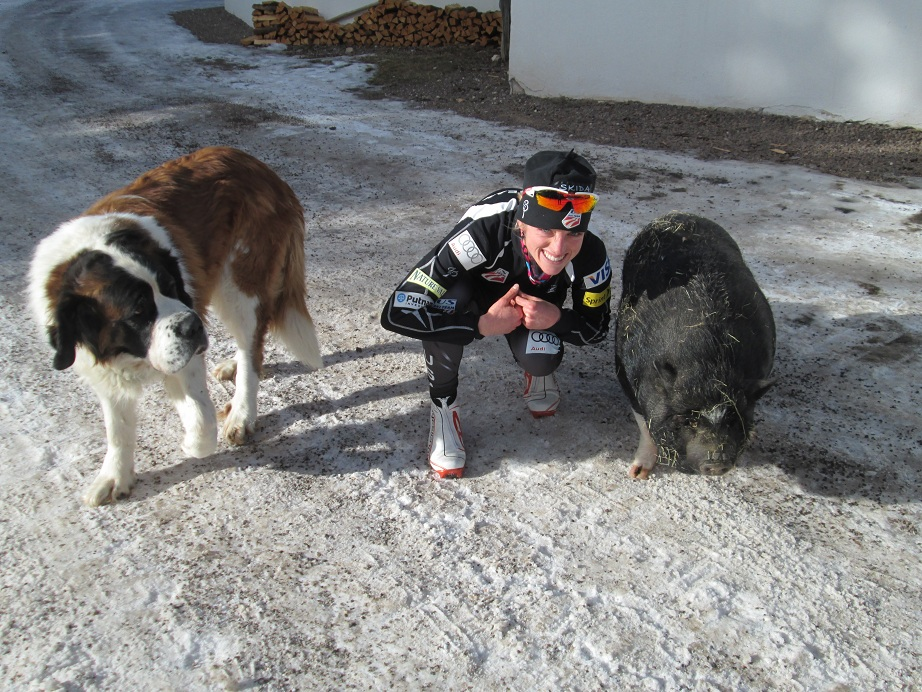 Liz Stephen with Pig and Dog