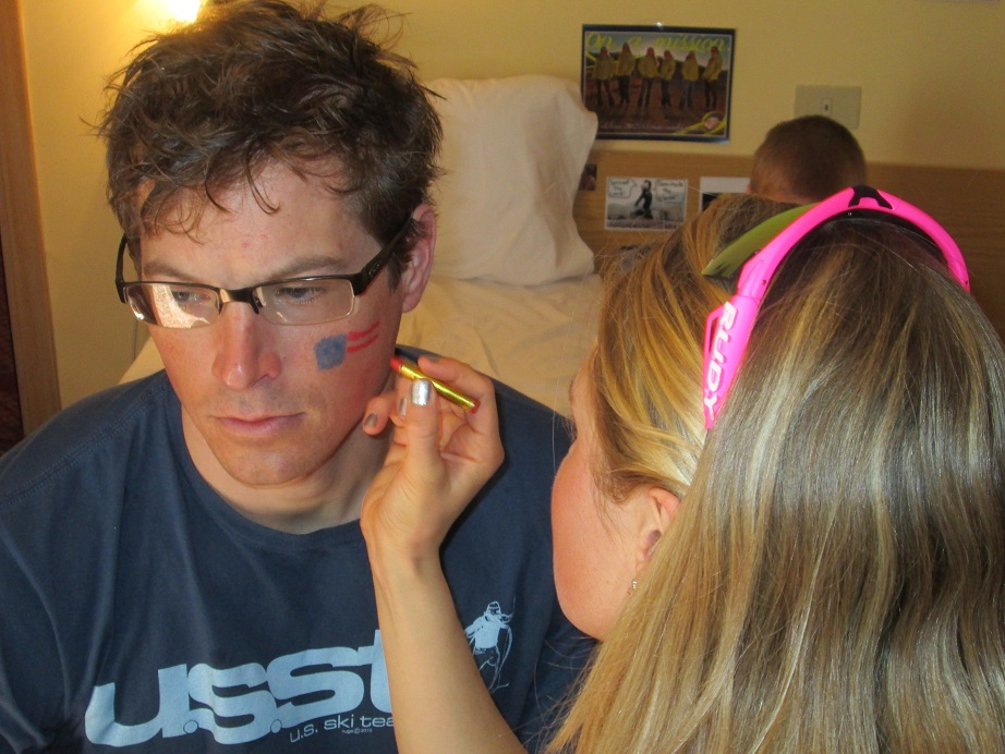 Jessie Diggins Painting Kris Freeman's Face