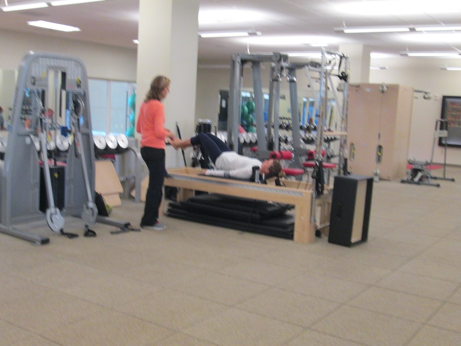 Resi Stiegler doing Pilates at the Center of Excellence