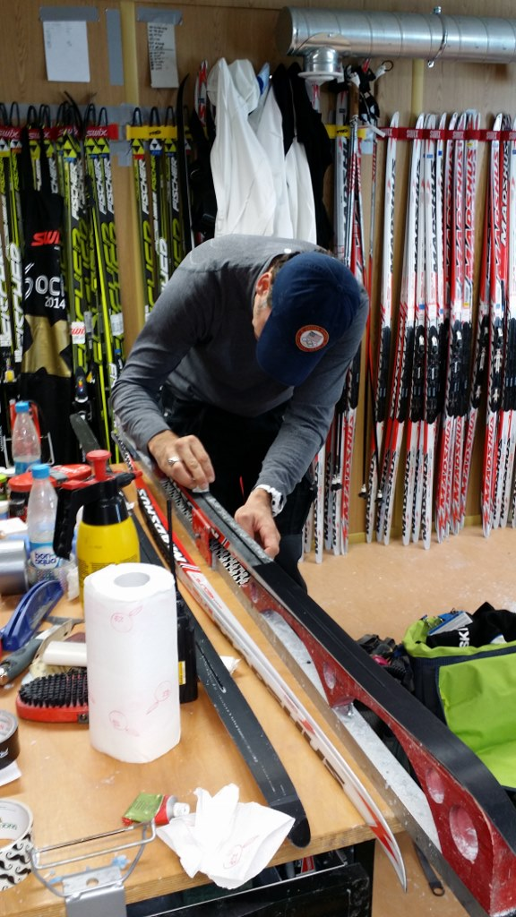 Randy Gibbs Working on Noah Hoffman's Skis at the Olympics