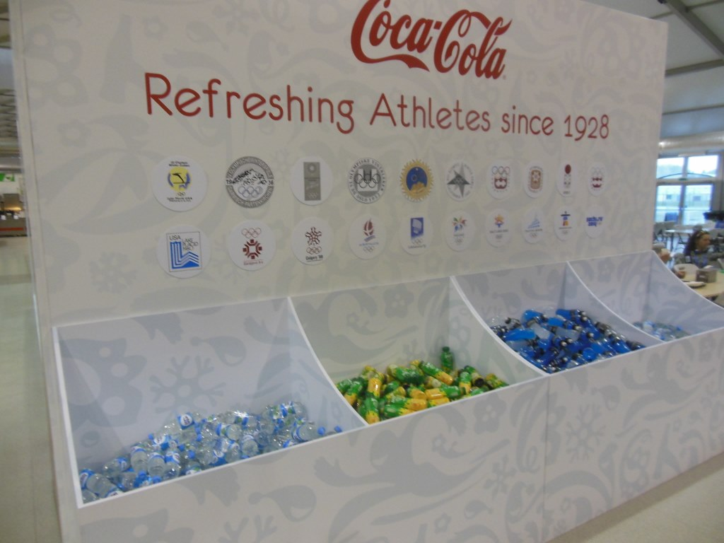 Large Drink Bins in Sochi 2014 Olympic Dining Hall