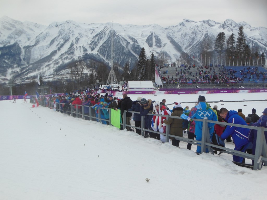 Olympic Skiathlon Crowd on Sprint Hill