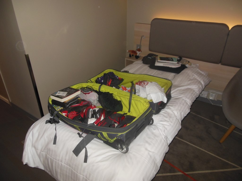Noah Hoffman's Duffel Packed at Radisson Blu Hotel Oslo